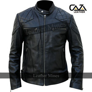 Hommes-David-Beckham-Veritable-Mouton-Veste-Cuir-Noir-Motard-Vintage-Slim-Fit-S