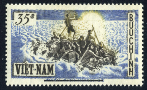 SOUTH VIETNAM August 6th, 1956 Refugees on Raft OVERPRINTED 54 MNH