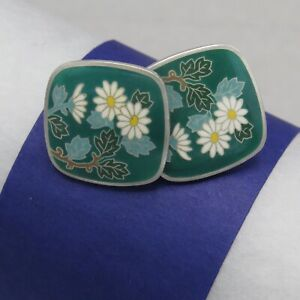 Vintage-1940-s-50-s-Japanese-Japan-Sterling-Silver-Enamel-Flower-Earrings