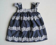 Baby Gap SEASIDE Girls 12 18 Mo Navy Blue & White Waves Dress EUC