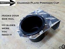 Diamond Plate cup holder fits 1 1/4 inch pontoon boat rails, golf carts-trucks