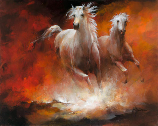 Willem Haenraets  WILD HORSES II Chassis-image 60x80 Toile chevaux