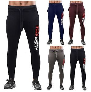 93245a7ad45a Image is loading ROKCBERRY-Mens-Slim-Fit-Tracksuit-Bottoms-Skinny-Jogging-