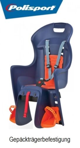 POLISPORT Kindersitz BOODIE blau//orange CFS Gepäckträgerbefestigung Fahrrad
