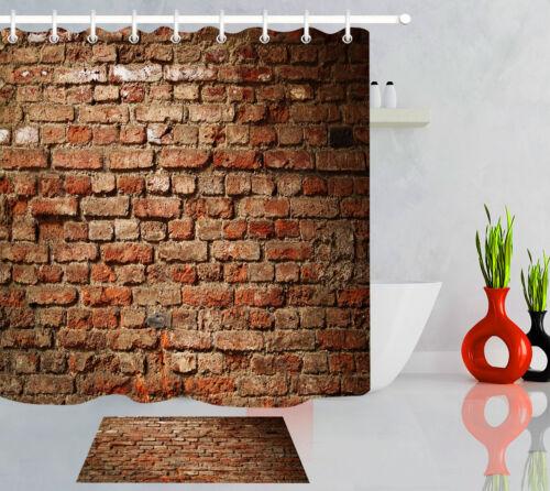 Grunge Brick Wall Texture Bathroom Shower Curtain Liner Waterproof Fabric Hooks