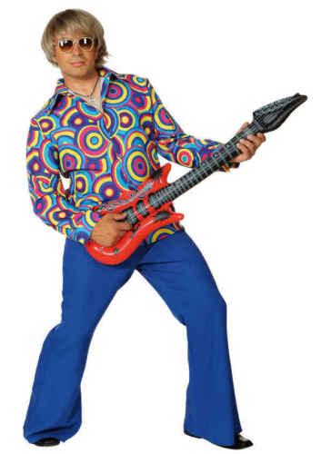 Hemd Crazy in blau zum 70er Jahre Herren Kostüm an Karneval Fasching
