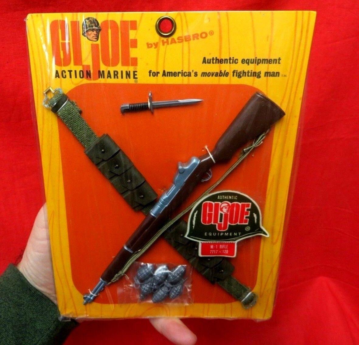 1964 VINTAGE GI JOE JOEZETA   ACTION MARINE M1 RIFLE SET + BAYONET MOC (B)