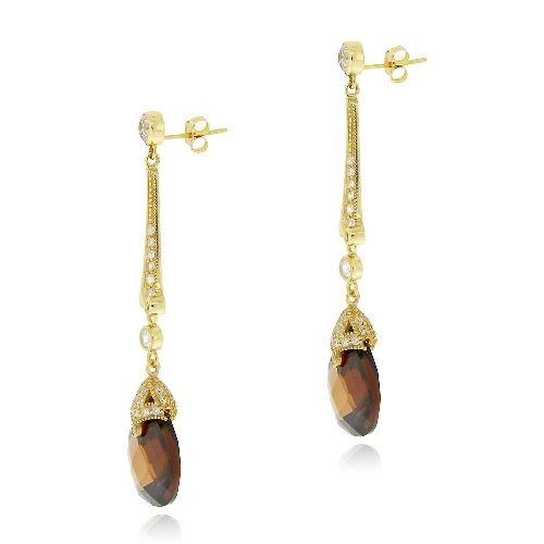 Or 18K sur Argent 925 18 CT chocolat /& Clair Zircone Cubique Estate Dangle Earrings