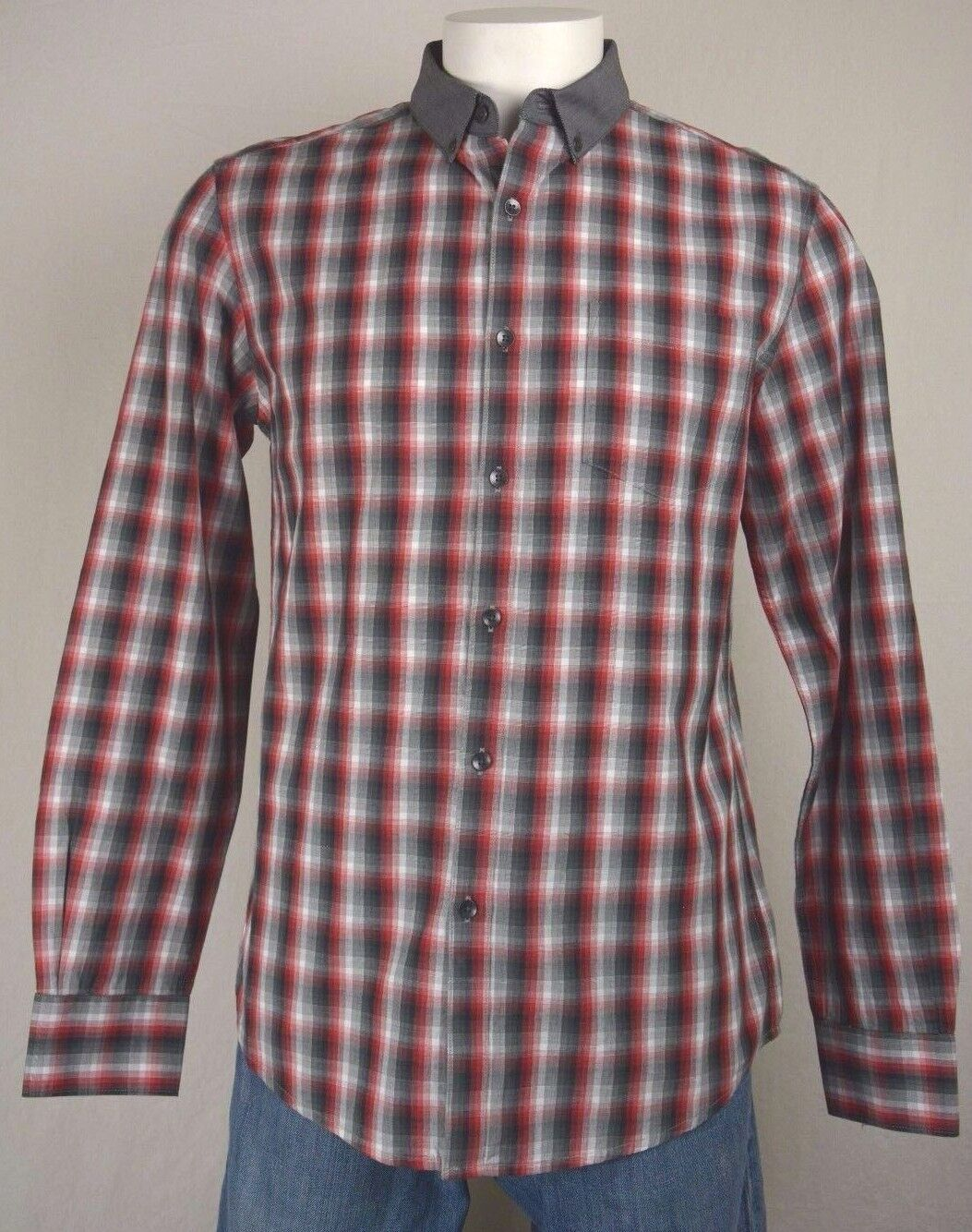 Men's Kenneth Cole size Medium M Red Plaid Long Sleeve Slim Button Up Shirt NEW
