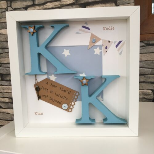 Personalised Twin Baby Christening Sister Brother Letter Frame Gift Birth