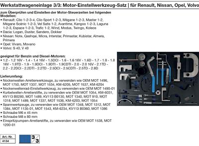Volvo Mitsubishi Chrysler BGS Motor-Einstellwerkzeug Satz für Renault Opel