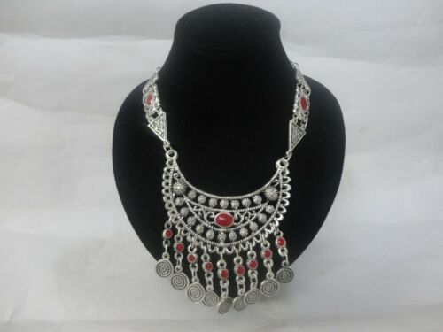 Moroccan african arabic red artisan  necklace