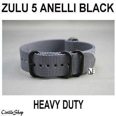 CINTURINO OROLOGIO NYLON ZULU NATO GRIGIO HEAVY DUTY 5ANELLI 18mm 20mm 22mm 24mm