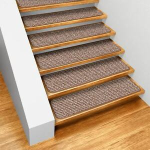 99491 House Home And More Set Of 15 Skid-resistant Carpet Stair Treads 9 X36 Praline Brown Runner Rugs 764842994919