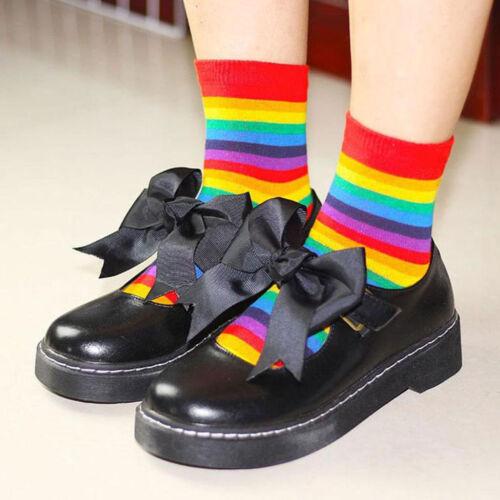 1 Pair Womens Girls Winter Autumn Long Socks Rainbow Striped Heart Cotton Casual
