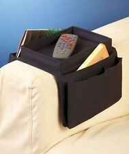 One Sofa Arm Rest Tray Organizers Black Remote eReaders Magazines Organizer