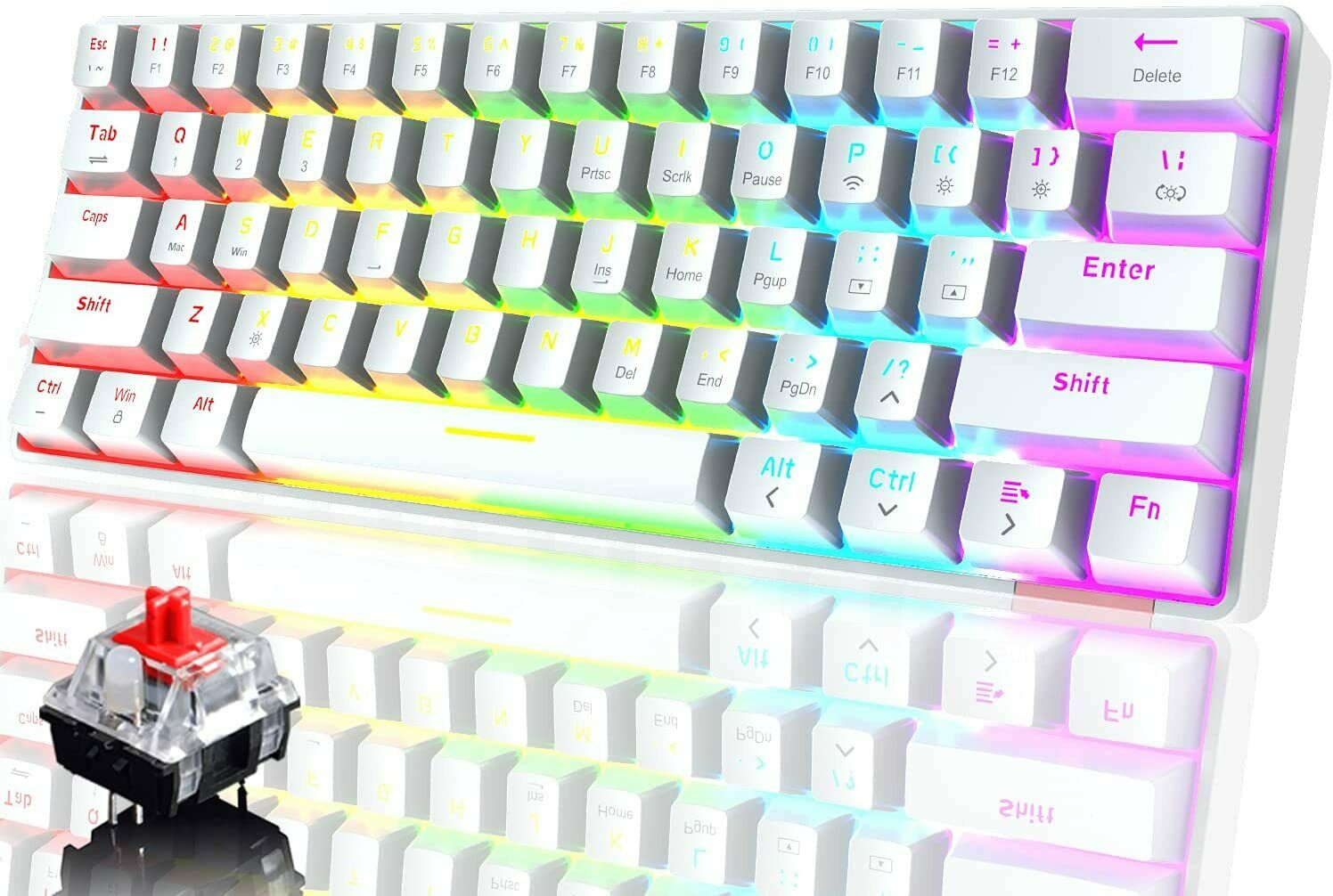60% Mechanical Keyboard Type-C Gaming Keyboard Wireless Bluetooth Dual-mode RGB