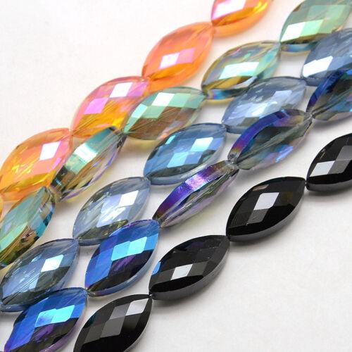 10 Pcs Couleur Plaqué Facettes Électroplaqué verre cristal Horse Eye Beads 25x12x8mm
