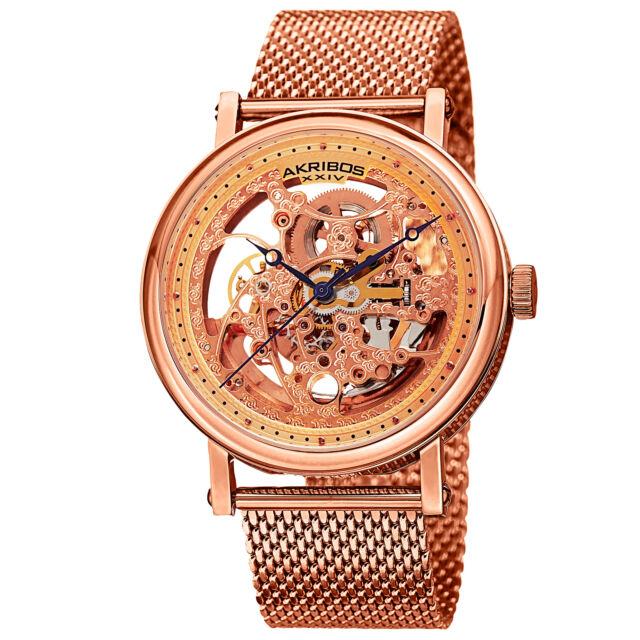 Men's Akribos XXIV AK732RG Automatic Skeleton Rose-tone Stainless Steel Watch