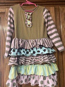 Mustard-Pie-Girl-s-Brown-amp-Yellow-Pink-Polka-Dot-Ruffles-Set-Size-5