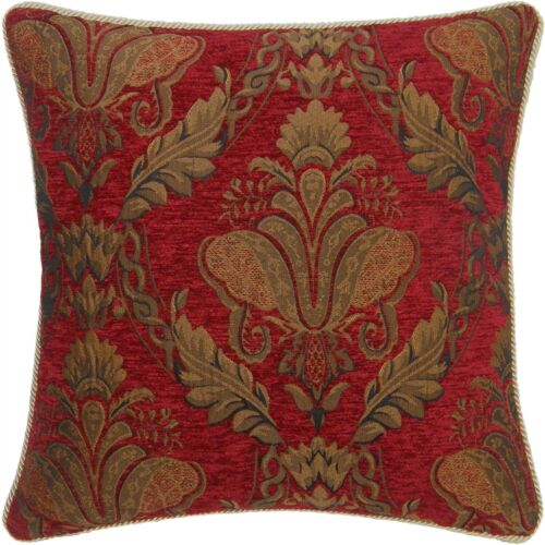 """FILLED RED GOLD FLORAL CHENILLE TAPESTRY 18/"""" THICK CUSHION"""