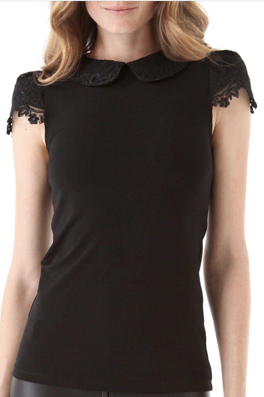Alice + Olivia Luiza Lace Peter Pan Collar Cap Sleeve Top schwarz Größe S NWOT