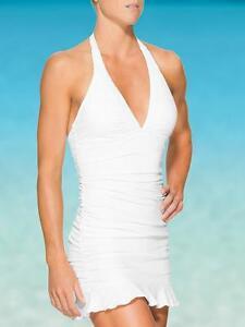 6ccbe77260f2d NWT Athleta Shirrendipity Halter Swim Dress, White SIZE ST S T #413972 V721