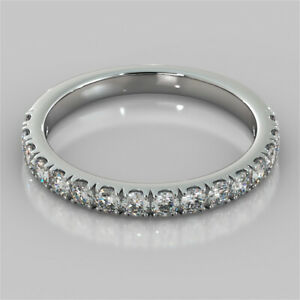 0.48 Ct Round Moissanite Engagement Eternity Band Solid 18K White Gold Ring 7 8