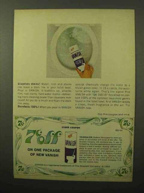 1964 Vanish Toilet Bowl Cleaner Ad - Dissolves Stains