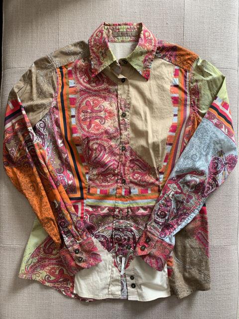 ETRO paisley print cotton shirt blouse women's Italian size 42 US M Stretch
