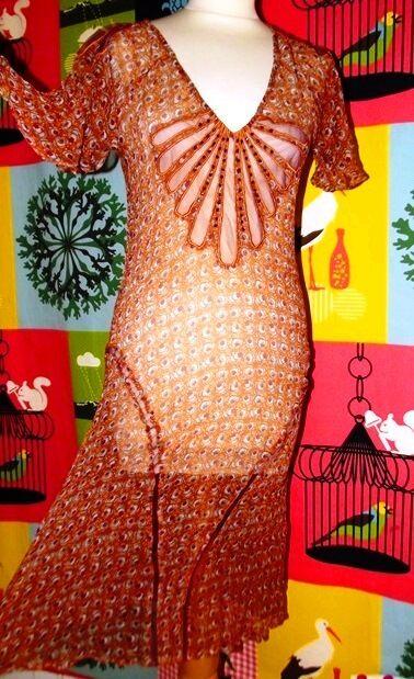 ANTIK BATIK ROBE  DRESS FOLK  SURROBE VOILE DE SOIE RESILLE CABOCHONS TS OU 38