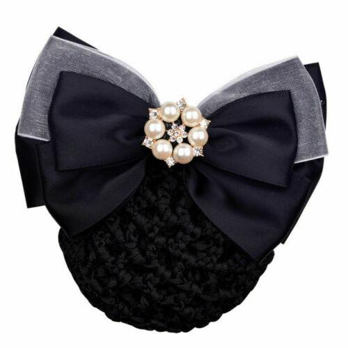 Women Office Jewelly Bowknot Hair Bow Hairnet Barrette Net Bun Snood Accessory