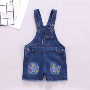 Toddler Girls Casual Overalls Clothes Infant Baby Girl Denim Short Floral Pants