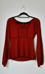 hennes-womens-tunic-top-size-small-long-sleeve-scoop-neck-boho-chic-burgundy-red