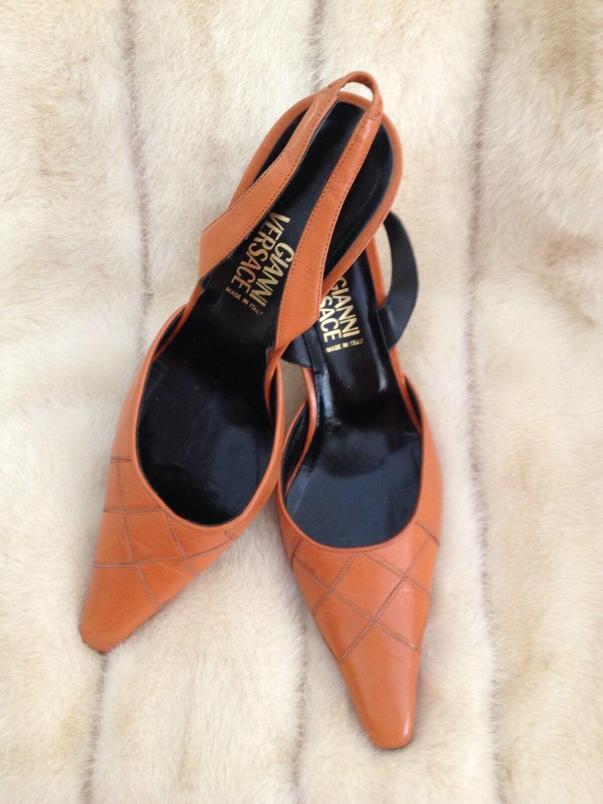VERSACE orange orange orange Leather Slingback Vintage shoes 5a9881
