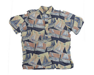 Vtg-XL-Reyn-Spooner-Hawaiian-Shirt-button-down-Reverse-Print-Blue-Sail-Boats