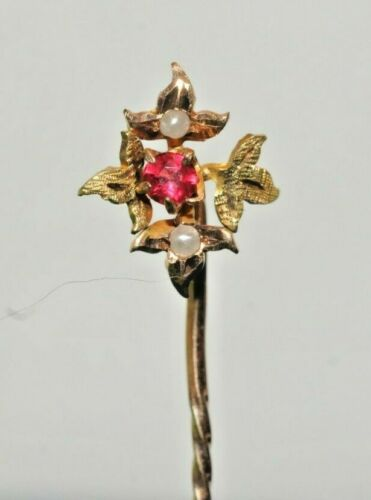 Vintage Gold 10k Ruby Seed Pearl Stick Pin