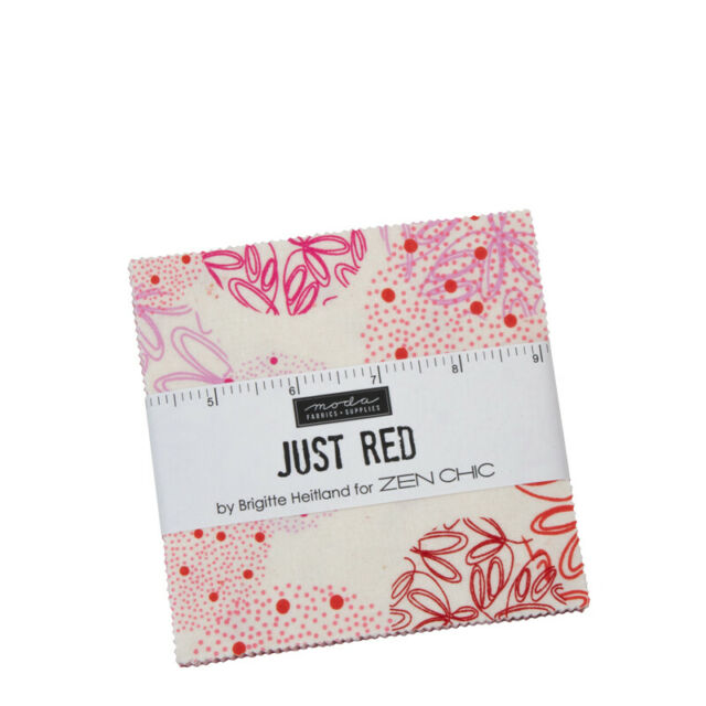 """CHARM PACK~JUST RED~MODA FABRICS~42-5"""" SQUARES~ZEN CHIC~REDS PINKS~1700PP"""