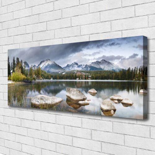 Leinwand-Bilder Wandbild Canvas Kunstdruck 125x50 Gebirge Wald See Landschaft