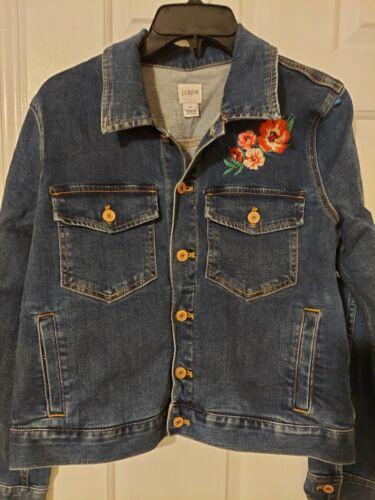 J.Crew Denim Jacket with Floral Applique/Blue Size