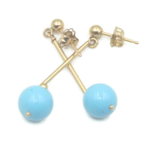 Turquoise Reconstituted Dangle Earrings 14K Yellow Gold Plain Bars