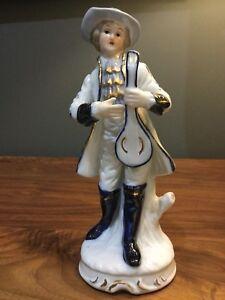 Vintage-Porcelain-Figurine-Blue-White-Gold-Trim-Man-With-Mandolin-Lyre-8-034-Tall