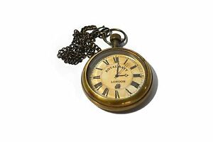 Nautical Royal Navy London Marine Antique Brass Pocket Clock With chain
