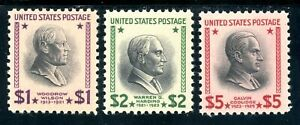 USAstamps-Unused-VF-US-1-5-Presidential-Set-Scott-832-833-834-OG-MNH-PO-Fresh