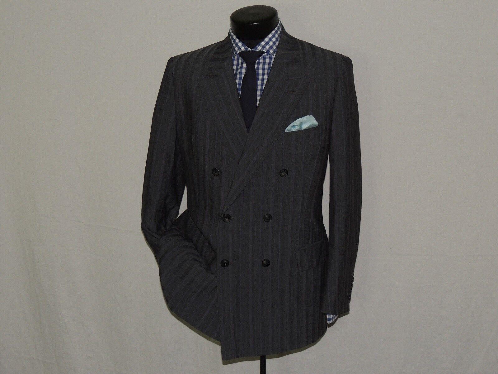 Bespoke Bill Cairo Vtg grau stripe Double Breasted suit coat 38 R pants 32X30.5