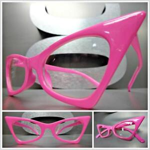 f88944b438cb CLASSIC VINTAGE RETRO CAT EYE Style Clear Lens EYE GLASSES Pink ...