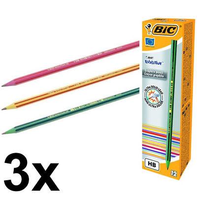 3 x BIC 646 Evolution Ecolution Pencil Boxes 36 Pencils