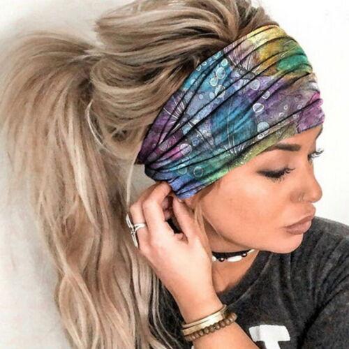 Haarband Stirnband Damen breit Hair Bands Sommer Stretch Bandana YOGA Knoten/&