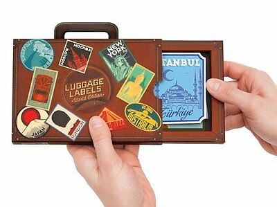 17 x Retro LUGGAGE LABEL STICKERS Travel SUITCASE Vinyl STICKERS - WORLD Edition