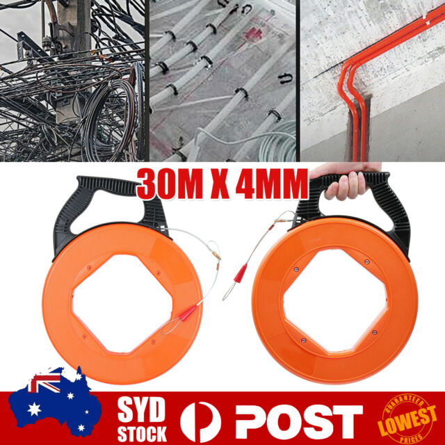 30Mx4mm Fiberglass Cable Puller Fish Tape Wire Reel Snake Conduit Duct Rodder A
